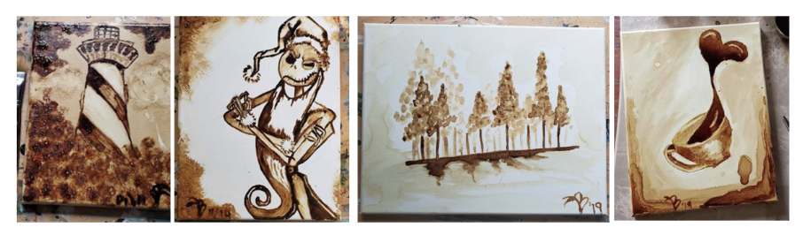"""[Image description: A row of 4 pieces of artwork. They are a lighthouse. A portrait of Jack Skellington, the protagonist of """"The Nightmare Before Christmas"""". A scene of trees and their shadows. And finally, a cup of coffee spilling upward, with the spilling coffee in the shape of a heart. All portraits are colored in a dark brown from the coffee grounds.]"""