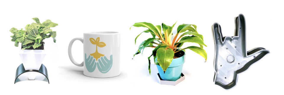Image description: 4 photos of different plant related products. 3 different types of planters and one mug with hands on it that have a plant growing out of it.]