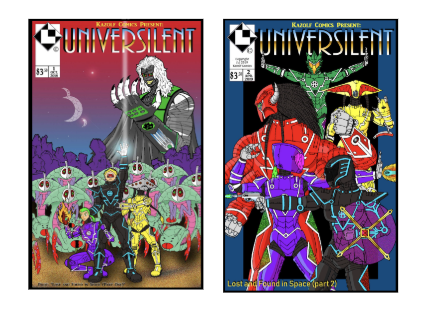 [Image description: 2 comic book covers with illustrations of a vast array of colorful futuristic beings and droids. On top of both is the word 'UNIVERSILENT' in blue and gold lettering.]